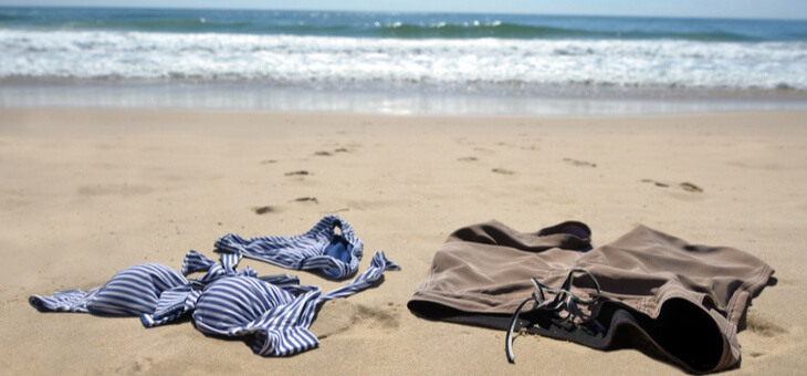 abandoned clothes on a beach