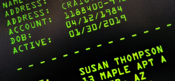 private details on computer screen