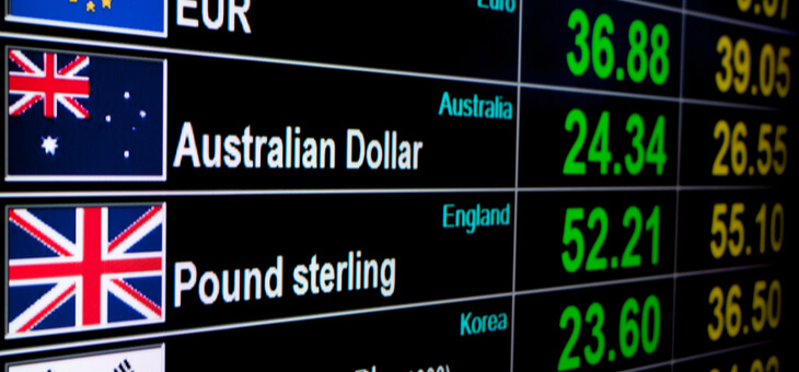digital screen showing foreign exchange rates