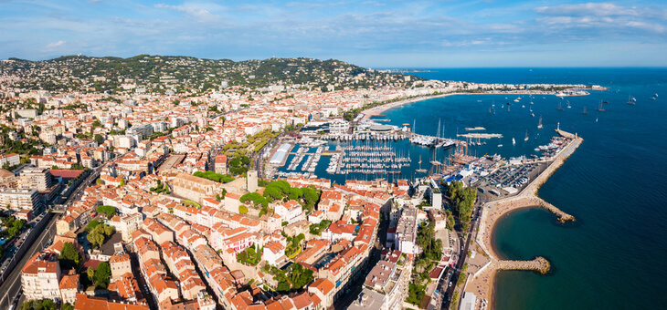 aerial view of cannes harbour
