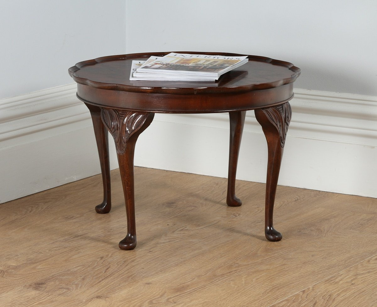 Queen Anne Style Burr Walnut Round Coffee Table By Cameo Circa
