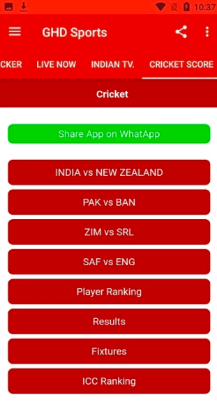 Live Cricket Score on GHD Sports