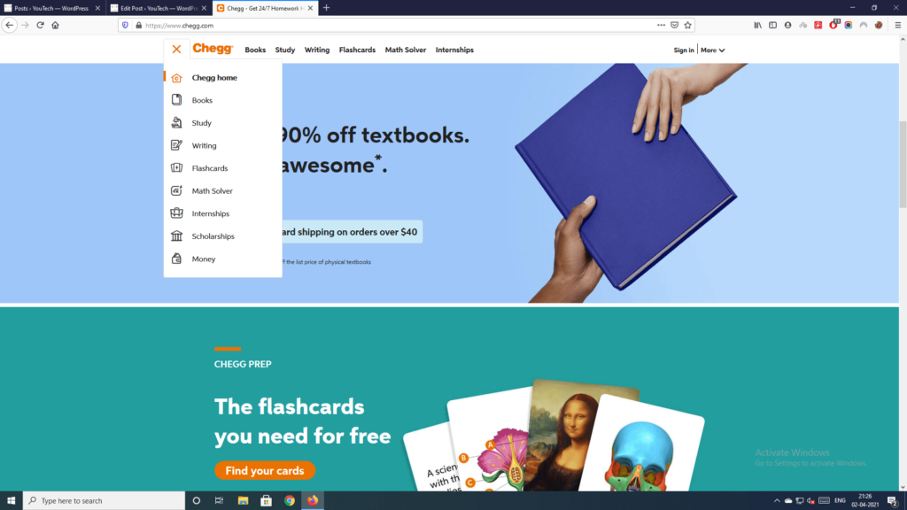 products & services of chegg