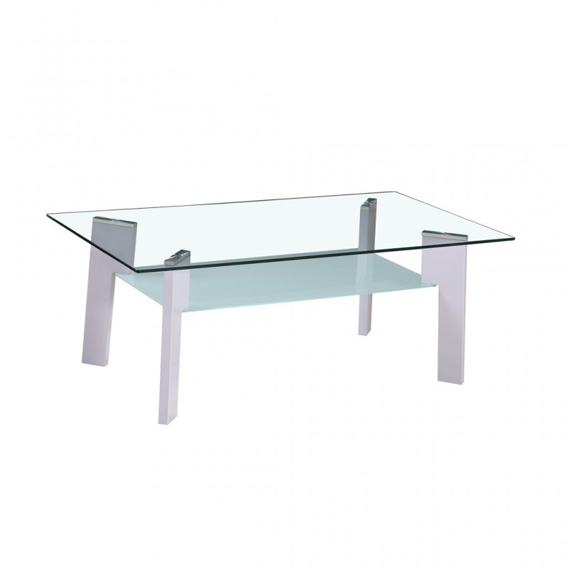 Glass Coffee Table Tempered 100x60xh44cm Gray Feet